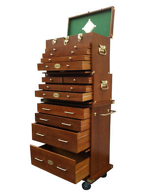 US Pro Tools Wooden Tool Box Chest Wood Cabinet Engineer