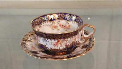 Exquisite Antique Crown Staffordshire Hand Gilded Tea Cup & Saucer C 1906+