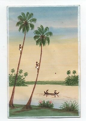Small 1920s Hawaiian Watercolor on Paper of People Climbing Palm Trees