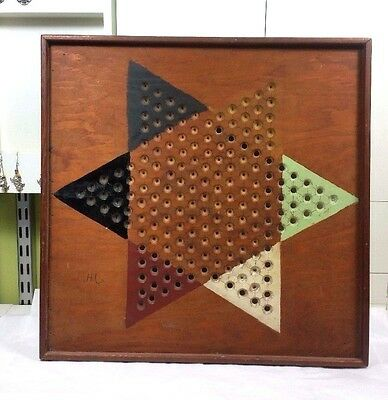 vintage wood hand made Chinese checker board signed rustic country folk art