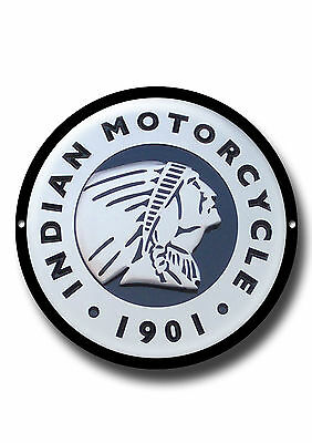 Indian Motorcycle Round High Gloss Finish Metal Sign.american Motorcycles