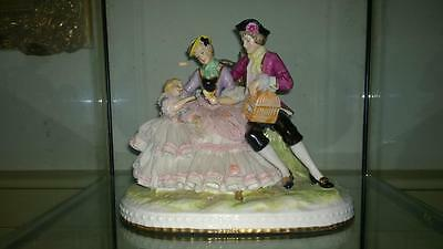 Enchanting Delicate Porcelain Dresden Lace Family Group with Child and Bird