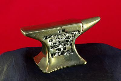 Vintage Small Brass Blacksmith's Anvil Gretna Green Miniature Desk Paperweight