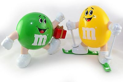 2x Vintage M&M's Dispensers Sweets Jelly Plastic Container Jar Skier & Present