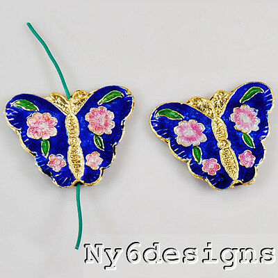 30x35mm Cloisonne  butterfly pendant beads (BPD33)a for DIY Jewelry