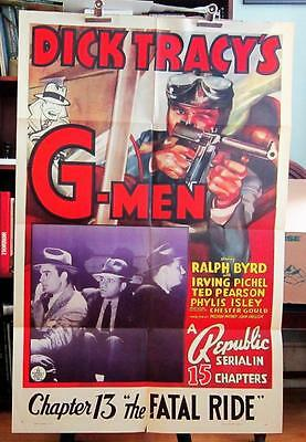 1939 DICK TRACY'S G-MEN Chapter 13 One-Sheet Serial Movie Poster RALPH BYRD