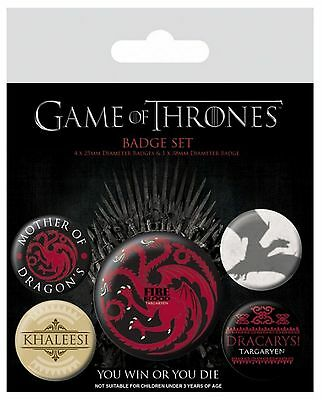 Game Of Thrones targaryen Fire And Blood new Official 5 X button Badge Pack