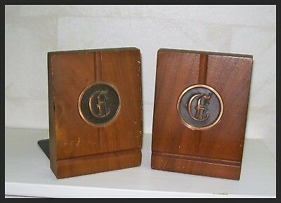 VINTAGE Bookends WOOD Metal COPPER Color BOOK ENDS Pair COLLECTIBLE Art