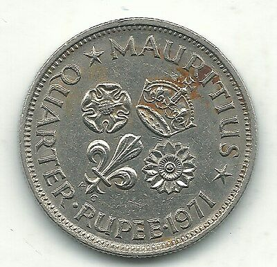 High Grade 1971 Mauritius One Quarter Rupee 1/4 Coin -Nov160
