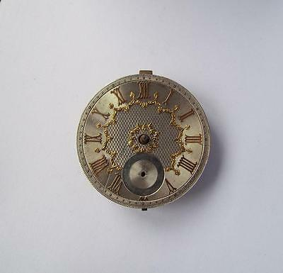 Antique English Lever Pocket Watch Movement With Silver Dial For Repair