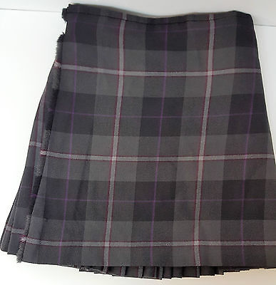 "Ex Hire 40"" waist 22"" drop Pewter Passion Of Scotland 8 Yard Wool Kilt A1 Cond"
