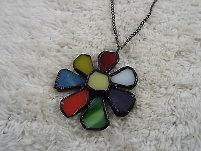 Colorful Stained Glass Daisy Pendant Necklace (D11)