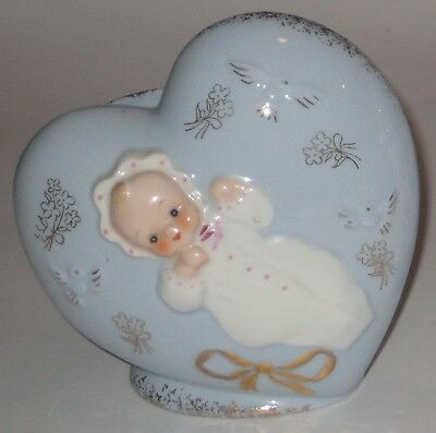 Blue HEART w/BABY Vintage SHAFFORD JAPAN Pottery WALL Pocket PLANTER
