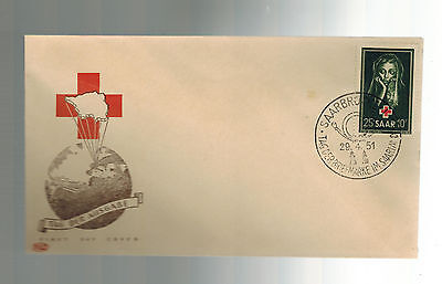 1951 Saar Germany First day Cover # B82 FDC Red Cross