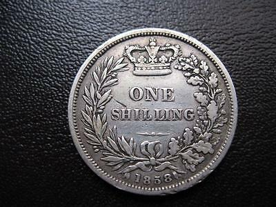 Coins  Victoria  Y H Shilling Dated 1858 In Good Fine