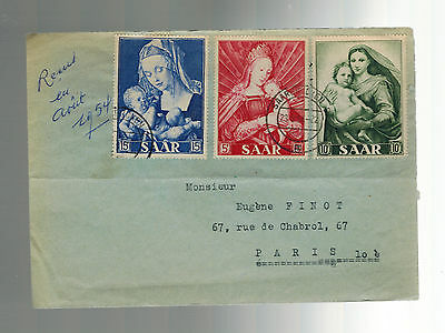 1954 Saar Germany airmail cover to France COmplete set # 250-252