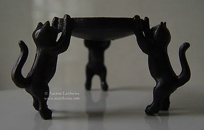 1 x 3 KITTENS CATS TEALIGHT HOLDER Wicca Pagan Witch Goth Yoga CAT CANDLE HOLDER