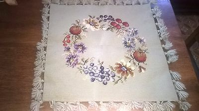 completed tapestry needlework fruits &  floral design, made into a cushion cover