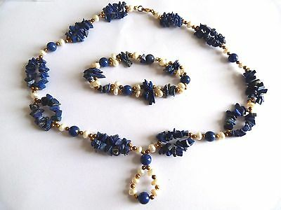 vintage lapis and pearl necklace set
