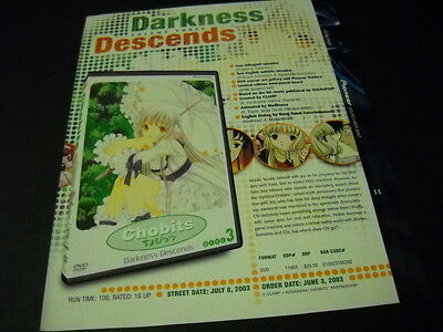 CHOBITS Darkness Descends Vintage ANIME Promo Ad mint condition