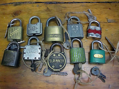 Vintage Padlocks Lot of 10 Slaymaker fraim 5 disc walsco padlock key keys lock