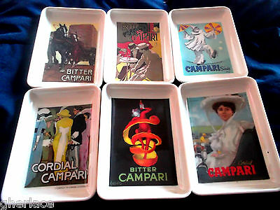 Set Portacenere Campari 1960 Bachelite Manifesti Dudovich Cappiello Ashtray