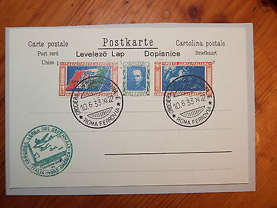 1933 Italy  Stamp Cruise Atlantic Value 5.25+19.75 With Stamp Event Postcard