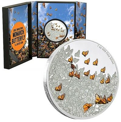 2016 Niue $2 Great Migrations - Monarch Butterfly - 1oz Silver Coin (Tax Exempt)