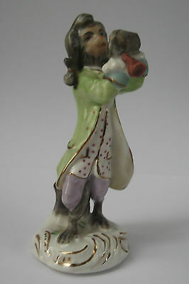 Continental Porcelain Monkey Band Figurine In Meissen Style