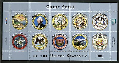 Marshall Islands 2016 Great Seals Of The United States Part V  Sheet Mint Nh