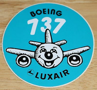 Old Luxair Boeing 737 Happy Face Airline Sticker
