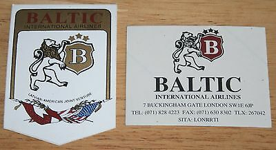 2 x Old Baltic International Airlines Stickers