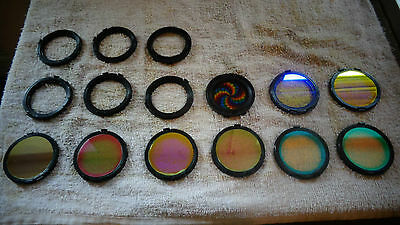 9 two inch stage lighting effects disks all various & six disk cases see picture