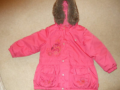 Girls  Pampolina Pink Jacket with Fur lined hood two front pockets Size 92 2yr