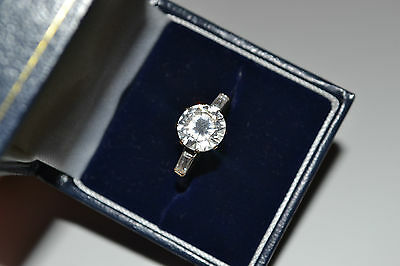 HUGE 9ct GOLD CLEAR STONE DRESS RING UK SIZE Q ROUND & BAGUETTE CUT