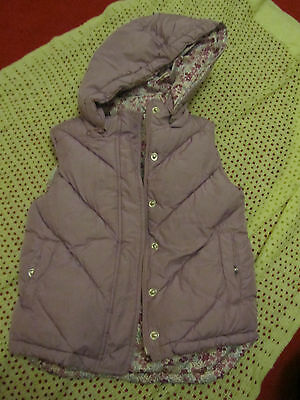 Girls Purple Padded M&S Bodywarmer / Gilet with Removable Hood - 6 - 7 years