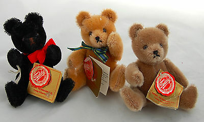 """Teddy Hermann Original Miniature Bear Mohair Jointed 3pc Retired West Germany 5"""""""
