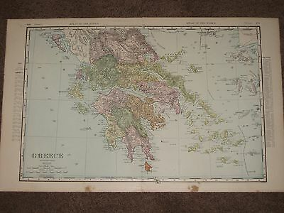 1898 GREECE ANTIQUE MAP Rand McNally Atlas 22 x 14 Original Antique!