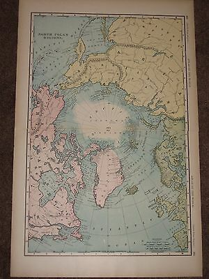 1898 NORTH POLE ANTIQUE MAP Rand McNally Atlas 22 x 14 Original Antique!