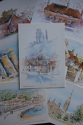 7 ARTIST postcards CORFE LYME REGIS STONEHENGE GOLD HILL SWANAGE Terry Whitworth