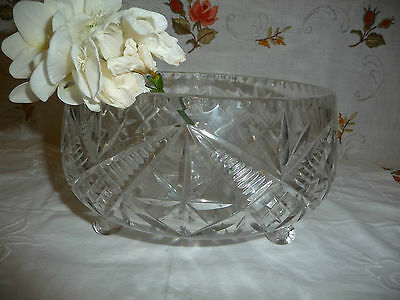 Beautiful Vintage Crystal Patterned Fruit Bowl With Feet Vgc