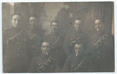 ~WW1 RGA Royal Garrison Artillery Group Photo 7 Soldiers RP PC Brussels 1919