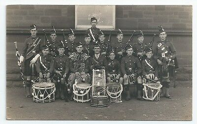 Royal Scots Fusiliers Kilmarnock Academy Cadet Corps Pipers Drummers RP PC 1925