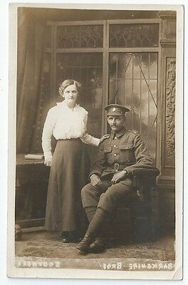 WW1 ASC Army Service Corps Soldier + Wife Unused Real Photo Postcard Southsea