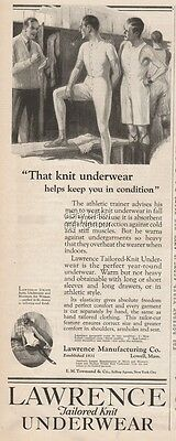 1922 Lawrence Men's Knit Underwear Lowell MA Vintage Clothing Fashion Print Ad
