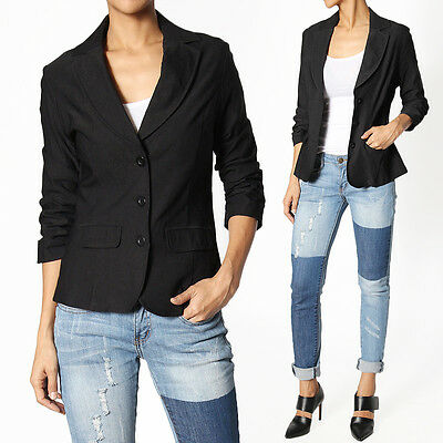 TheMogan Women's Ruched 3/4 Sleeve 3 Button Slim Fit Blazer Casual Office Jacket