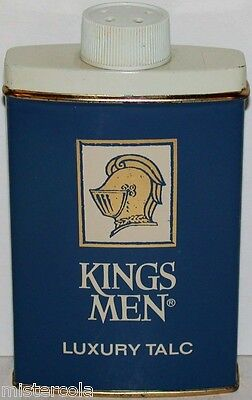 Vintage tin KINGS MEN LUXURY TALC knights helmet pictured KM Products Chicago IL