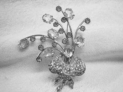 Vintage Sterling Clear Rhinestone Brooch from 1940s