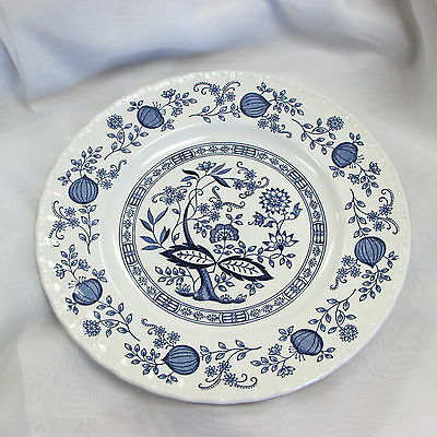 """Wedgwood Blue Heritage Dinner Plate Blue Onion Design 10"""" England Discontinued"""
