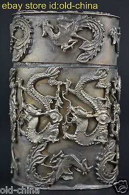 China Dragon Phoenix Totem Mark Decor Collectible Used Noble Toothpick Box